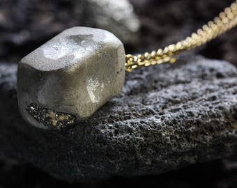 Concrete Nugget Necklace | Concrete Necklace | Pyrite Necklace