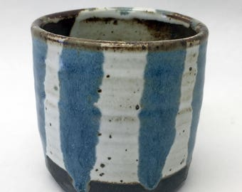 blue & white striped cup // handmade // ceramic tumbler