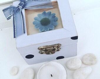 Quartz Crystal Kit, Blue Flower Jewelry Box, Tea light Candle Kit, Wiccan Ritual Box, Polished Crystals, Trinket Box, Beach Stones, Witchery