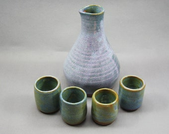 Pottery Sake Set Rutile Blue CHUN43