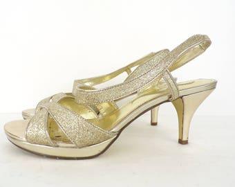 Vintage Nina gold sparkly heels size 8, fancy heels, sparkly heels, sparkles, Nina heels, gold heels, evening heels, strappy heels, party