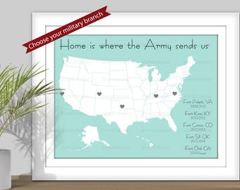 Home is Where the Military Sends Us, State Map Art - (Choose your Military branch) PRINTABLE. Travel map. Army, Navy, Marines, Air Force - 4