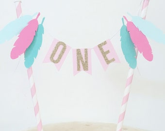 Bunting Cake Topper - 1st Birthday Boho feathers pastel pink, pastel mint, turquoise and gold glitter ONE