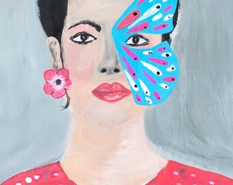 portrait , fashion art, women face, model, butterfly, expressionist, impressionist, pink , turquoise , beige, signed by artist, illustration