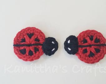 Crochet ladybug applique,Insect applique,Scrapbook making,Cards making,Crochet motif,Blanket accessories,Sewing accessories,Room decoration