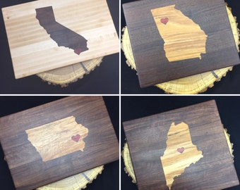 Bespoke State Cutting Board with heart inlay