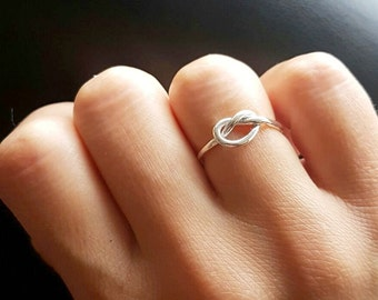 Love knot ring/ sterling silver/  knot ring/ handmade/ stacking ring/ eternity ring