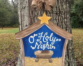 Manger Door Hanger, O Holy Night Door Hanger, Manger Scene Decor, Christmas Manger Door Hanger