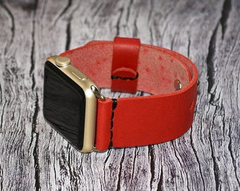 Leather apple watch band 42mm / 38mm // Red iwatch band - apple watch accessories - apple watch strap leather - rose gold lugs adapter