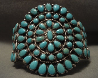 Important Vintage Navajo Jimmy Begay Turquoise Silver Bracelet