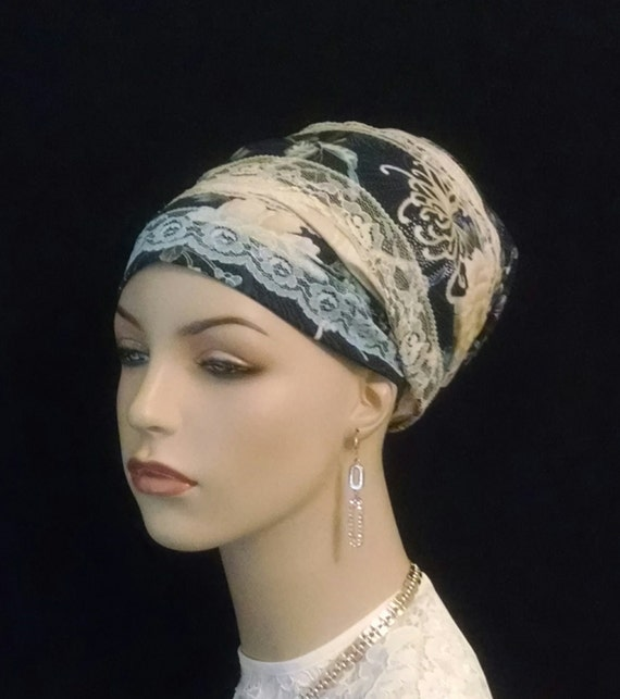 Very lacy cotton and lace Sinar tichel, tichels, apron tichels, head wraps, chemo scarves, mitpachat