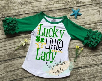 Lucky Little Lady St. Patricks Day Youth Raglan,Baby and Youth Sizes.St Patty Day,Good Luck Charm,Monogram,Icing Ruffle Raglan,Ruffle Sleeve