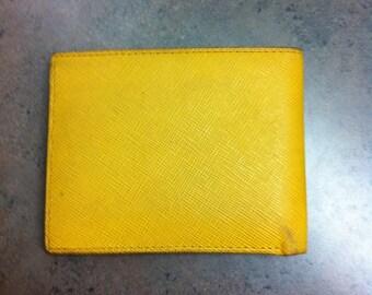 Vintage Mens Wallet - Yellow Leather Bi Fold Wallet - Designer Wallet - Gift for Him