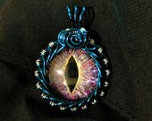 "Hand-Painted Dragon Eye Pendant - Purple ""Galactic Chaos"" w/Blue and Silver Wire Wrap (with Necklace)"