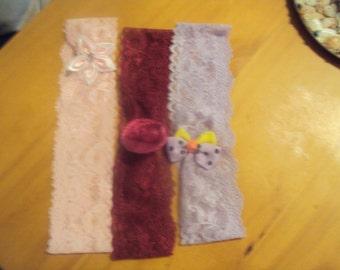 Set of 3 Headbands Pink Burgundy and Lavender 047