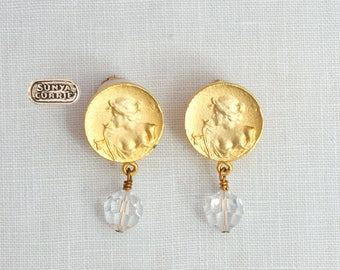 Cameo Silhouette and Vintage Crystal Clip Earrings