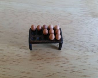 Handmade Dolls House Miniature Wooden Egg Holder/ Rack 1.12 scale