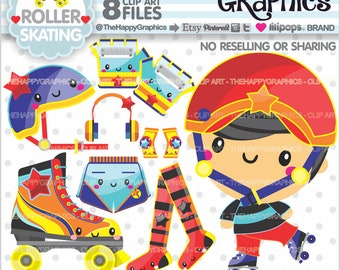 80%OFF - Rollerskating Clipart, Rollerskating Graphic, COMMERCIAL USE, Rollerskating Party, Planner Accessories, Skating Clip Art