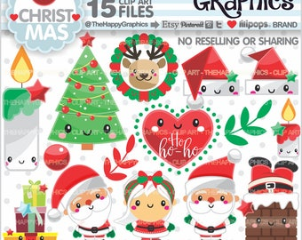 Christmas Clipart, 80%OFF, Christmas Graphics, COMMERCIAL USE, Christmas Party, Planner Accessories, Winter Clipart, Santa Clipart, Kawaii