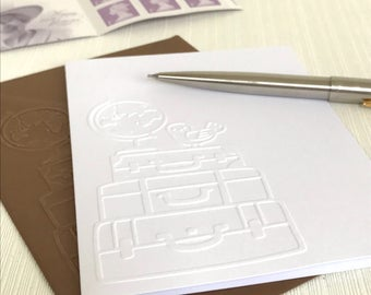 LUGGAGE & SUITCASES - Set of 6 Embossed Cards (No.23) - 6 White Blank Cards Perfect For Travellers or Long Distance Relationships