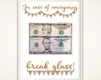 In Case of Emergency Break Glass, Money Gifts, Nurse Graduation Gift, Nurse Gift Ideas, Teen Girl Gifts, Gift for CoWorker, Last Minute Gift