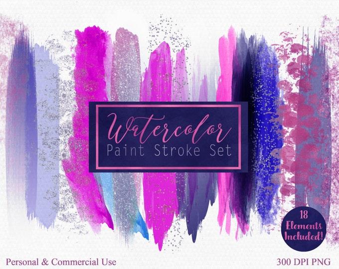 WATERCOLOR PAINT STROKE Clip Art Commercial Use Clipart Watercolour Paint Header Hot Pink Purple Blue Confetti Watercolor Blog Logo Clip Art
