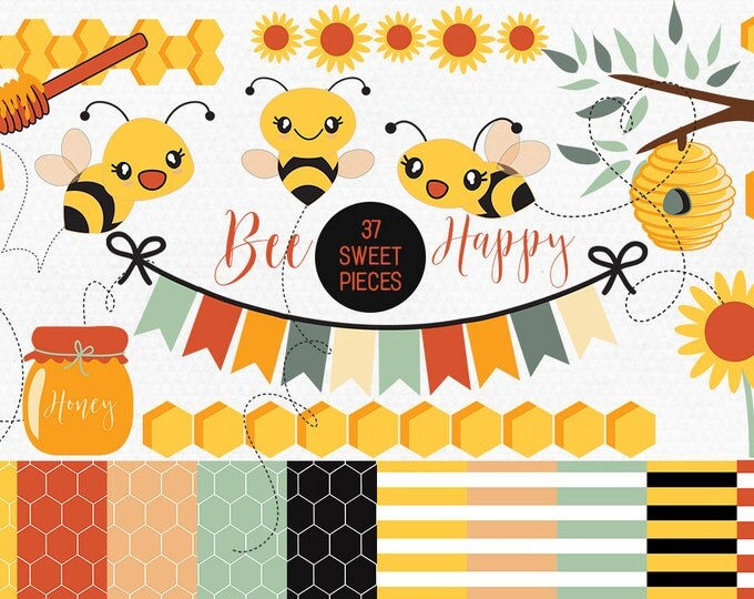 KAWAII HONEY BEES Clipart Commercial Use Clip Art 37 Bumble Bees, Beehive, Honey, Honeycombs, Bunting, & Digital Background Papers Vector