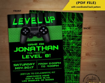 Level Up Video game birthday party invitation game on invite gaming party games truck blue YOU EDIT TEXT and print yourself invite 5734