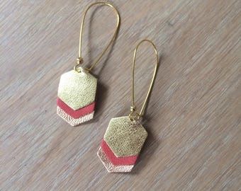 Earrings chevron (gold/rust/gold pink)