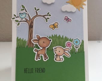 Handmade Card, Friend Card, Forest Critters Card