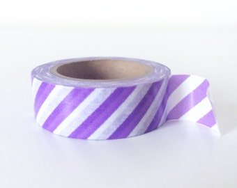 Purple and white stripe washi tape