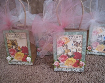 Kitties and Roses Party Favor Size Bags - Set of Six - Tea Party - Spring Tea - Garden Party - Shower