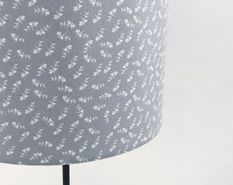 Grey and White Floral Drum Lampshade