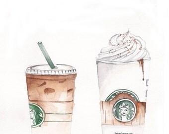Starbucks coffee watercolor print, print of original watercolor painting.