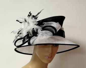 White/black Sinamay lady hat, high quality,light and comfortable, Kentucky Derby Hat, English Royal Hat, Wedding Hat, Church Hat, Formal Hat