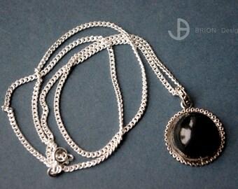 Chain, porcelain black, 50cm Silver 925