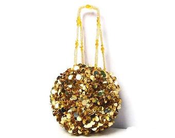 Gold Sequins Paillete Disc Round Beaded Handbag