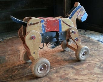 Old Wooden Bucking Mule Toy - 1920's Wood Clockwork Toy