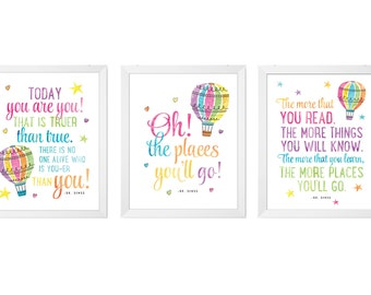 Dr Seuss Prints, Set of 3 prints, PRINTABLE nursery Art, Dr. Seuss Quote, Oh the Places You'll Go, Today You Are You, The more that you read