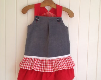 Size 1/2 Toddlers Dress Overall. Grey corduroy frills buttons shoulder straps cotton