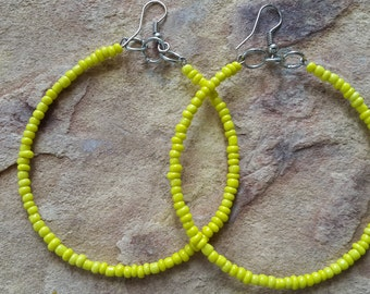 Beaded handmade simple elegant stylish fashion modern trendy wedding bridesmaid minimalist African spring dance  yellow silver hoop earrings