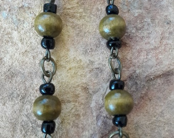 Simple straight light modern fashion trendy beaded handmade elegant  minimalist wood wooden chain link African spring drop dangle earrings
