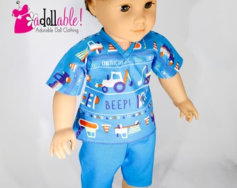 American made Boy Doll Clothes, 18 inch Boy Doll Clothing, Boy Summer Pajamas made to fit like American girl doll clothes