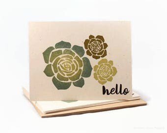 Succulent Note Cards, Thank You Notes, Note Card Set, Blank Note Cards, Hello Cards, Encouragement, Love Cards,  Cute Stationery Cards