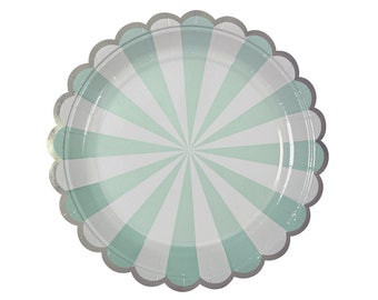 Plates | Mint Green & White Stripe Small Plates 7"
