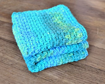 Crochet washcloth, handmade spa cloth, blue and green, summer aqua, cotton facial cloths, kitchen dishcloth, set of two, ready to ship