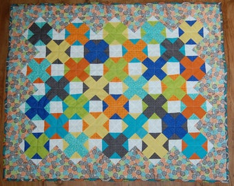 XOXO Baby Boy Quilt in blue, green, yellow, and orange