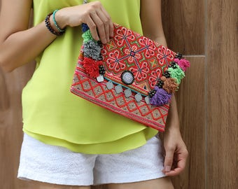 Hmong textile bags with Tassels and Coins , iPad Bag  , Colorful Clutch , Ethnic bag
