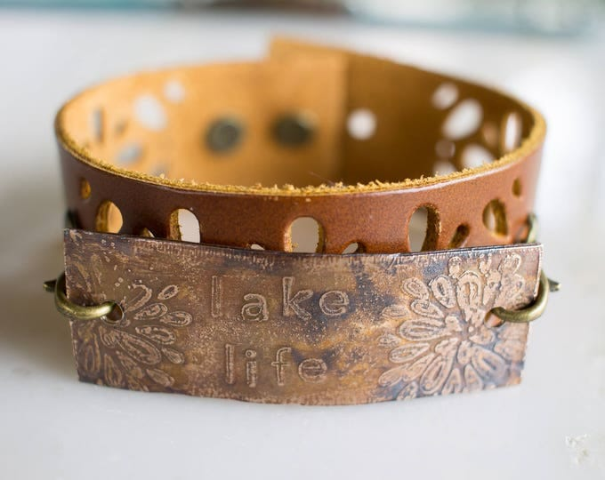 Lake Life bronze and leather bracelet, brown leather bracelet, bronze ethced bracelet, cuff