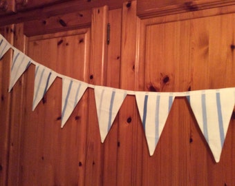 Traditional bunting, blue and white bunting, party bunting, bedroom bunting, boys room bunting, garden bunting, fabric bunting